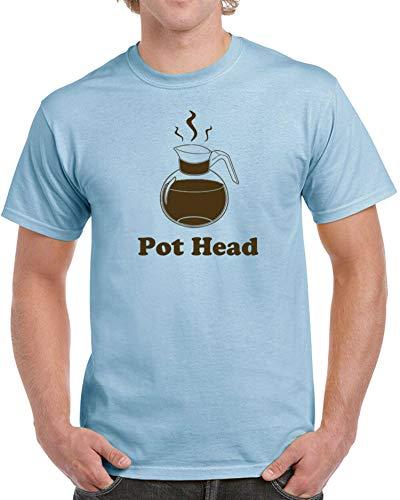 Pot Head Herren-T-Shirt mit lustigem Koffein-Kaffee-Weed-Bong-Liebhaber-Tasse, Vintage Gr. XL, hellblau