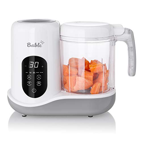 Bable Baby Food Maker for Infants and Toddlers- 6 in 1 Multifunctional Food Processor Mills with Steam, Blend, Chop, Sterilize, Warm Milk, Warm Food, Touch Control Panel, Auto Shut-Off White