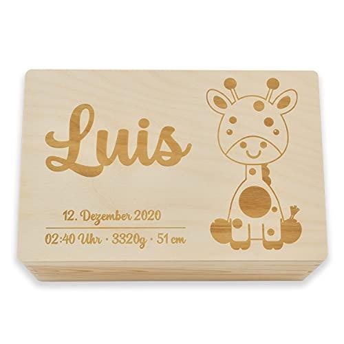 Erinnerungsbox personalisiert für Babys von Junimer, Natur, Größenauswahl, Giraffenmotiv, Für Jungs und Mädchen, Perfekt um Erinnerungsstücke aufzubewahren, Geschenk für Eltern