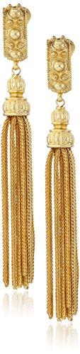 Ben-Amun Jewelry St. Tropez Tassel Gold Clip-On Earrings