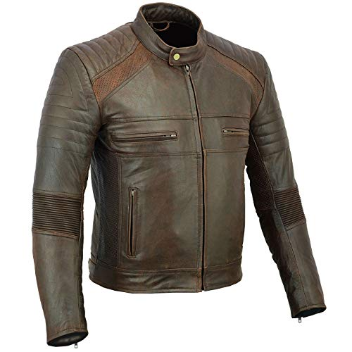 BULLDT Motorradjacke Vintage Lederjacke Cruiser jacke Braun, 52/L