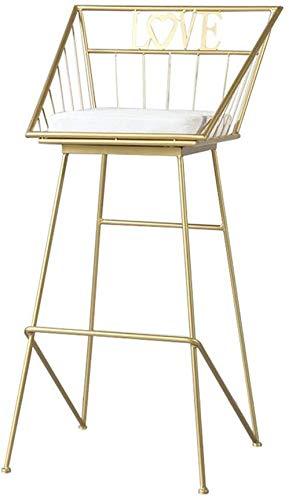 QSHG Stühle Industrie Frühstück Küchentheke Stühle Hocker Pyramide Stil Form Elegantes Aussehen Gewicht Kapazität Leinenkissen Geschenk (Color : Gold, Size : Seat Height:45cm)