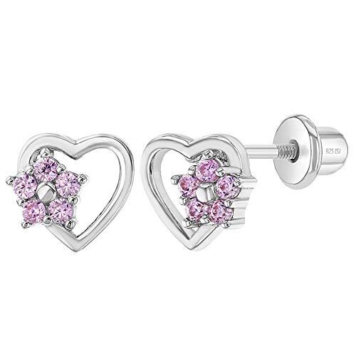 In Season Jewelry Orecchini da bambina in argento Sterling 925, con chiusura a vite a forma di cuore e fiore, con zirconi rosa, ideali per bambine e ragazze