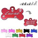 Hueso para Mascotas pequeñas-Medianas con Patas Placa Chapa Medalla de identificación Personalizada para Collar Perro Gato Mascota grabada (Rojo)