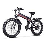 TypeBuilt 26 Pulgadas Neumático Gordo Bicicleta Eléctrica 21 Velocidades 26 Pulgadas Fat Tire Road Bicycle Beach/Snow Bike,1000W Bicicleta Eléctrica para Hombre Freno De Disco Hidráulico Y Horquilla