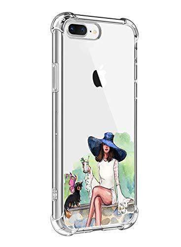Suhctup Coque Filles Compatible pour iPhone Se 2020,Etui [Antichoc Airbag] Transparent Silicone TPU Souple Mode Motif Crystal Housse de Protection Case pour iPhone Se 2020/iPhone SE2,Filles 1