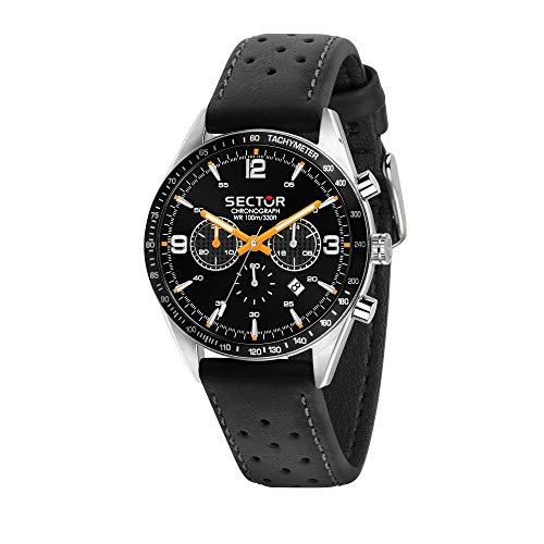 Sector No Limits Herren Chronograph Quarz Uhr mit Leder Armband R3271616001