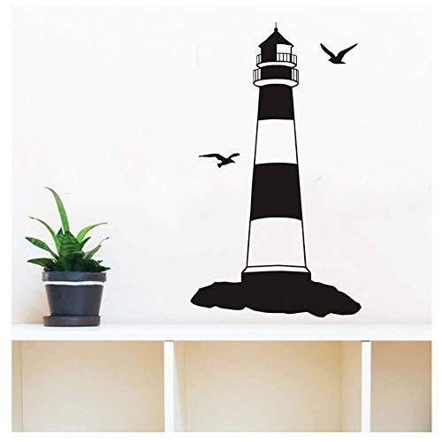 Etiqueta engomada de la pared del faro de dos pájaros Etiqueta decorativa del dormitorio de la Torre del Puerto Etiqueta engomada de la pared del vinilo Decoración del hogar 51x87cm