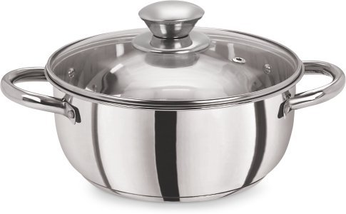 Pristine Tri Ply Induction Compatible Stainless Steel Sandwich Base Casserole with Glass Lid, 20 cm, 3.18Litres, 1Piece, Silver