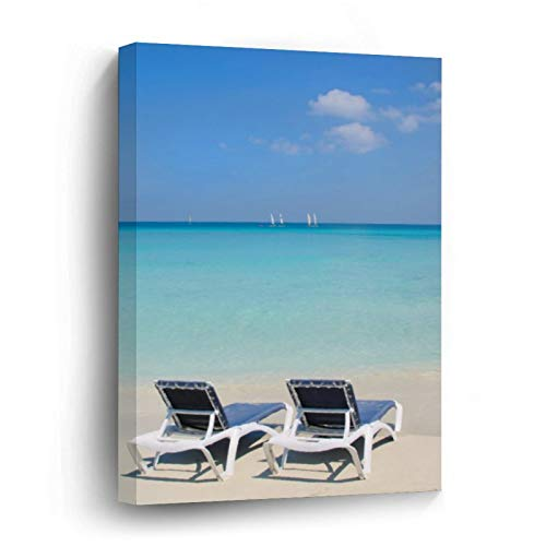 Varadero, Cuba. Sand and Beach Chairs Canvas Picture Painting Artwork Wall Art Poto Framed Canvas Prints for Bedroom Living Room Home Decoration, Ready to Hanging 8'x12'