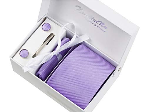 S.R HOME Rayures violettes Ensemble Cravate étanche d'homme Mouchoir épingle et boutons de manchette coffret cadeau