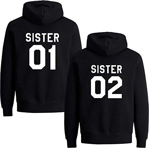 Best Friends Damen Sister Pullover Hoodie Für Zwei Mädchen Beste Freunde BFF (Sister 01, Schwarz S)