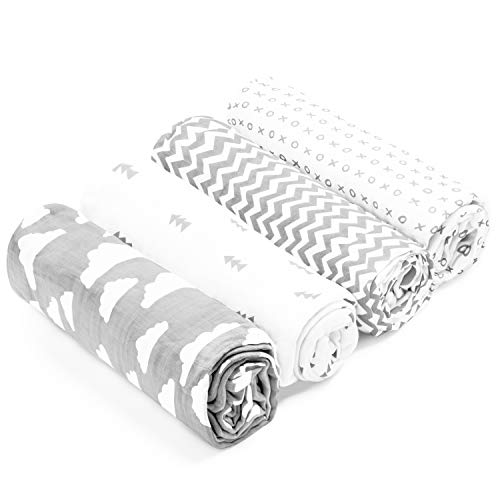 Muslin Swaddle Blankets – Soft Pure Cotton Muslin Blankets – 4 Pack of Breathable Swaddle Blankets – Unisex Baby Swaddle Blanket Set in Grey/White Designs – Multi Use Muslin Blankets – 47 x 47 inches