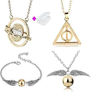 PPX 4 pcs Collier Set Time Turner La Mort Relique Golden Snitch Collier et Bracelets pour Fans Collection De Cadeaux ou Dé...