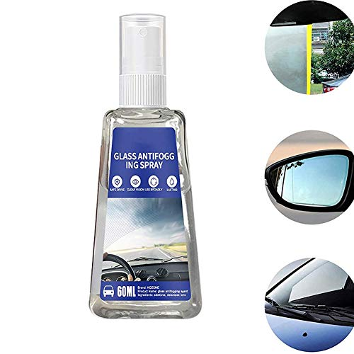 Dhukien 30/60 ml Car Goggles Windproof Anti-fog Agent, Liquid Nano Waterproof Spray for Car Rearview Mirror, Anti-fogging Agent for Automobile Glass (1pcs X 60ml)