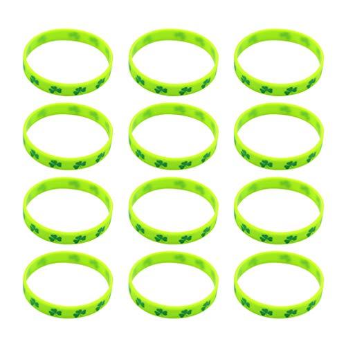 Amosfun Juego de 12 pulseras de silicona para el día de San Patricio, Shamrock Clover irlandés, pulseras de goma de color verde