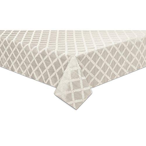 Lenox Laurel Leaf 70'x144' Oblong Tablecloth, Platinum