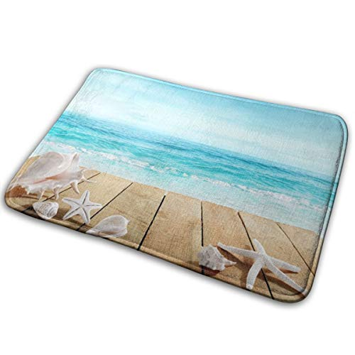 Nanjosan Beach Boardwalk Shells Polyester Flannel Bath Mat Non Slip Extra Cozy and Absorbent Shaggy Rug Dry Fast Perfect for Bathroom Indoor Tub Shower Bedroom Living Room Carpet 15.7x23.5 Inch