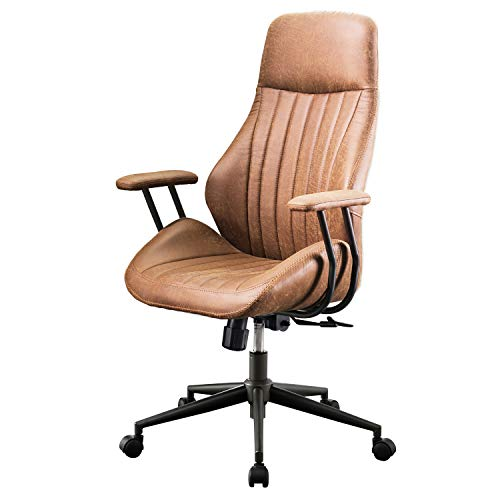 XIZZI Ergonomic Chair, Modern Computer Desk Chair,High Back Suede Leather Office Chair with Lumbar Support for Executive or Home Office (Coffee)