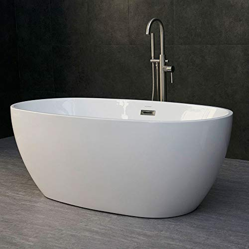 WOODBRIDGE Modern Acrylic Freestanding Bathtub Comfortable Soaking, Brushed Nickel Drain and Overflow Assembly Included, 59' B-0018 OVAL