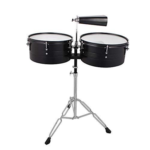 sddfor Percussion Full Drum Set with Stand and Cowbell With Super Solid Metal Rack Black Timbales