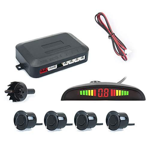LCW-Direct Einparkhilfe Rückfahrhilfe 4 hinten Sensoren Hinter mit LED Farb Display Auto Parken Sensor System Pieper Radar Kit für Hinter schwarz