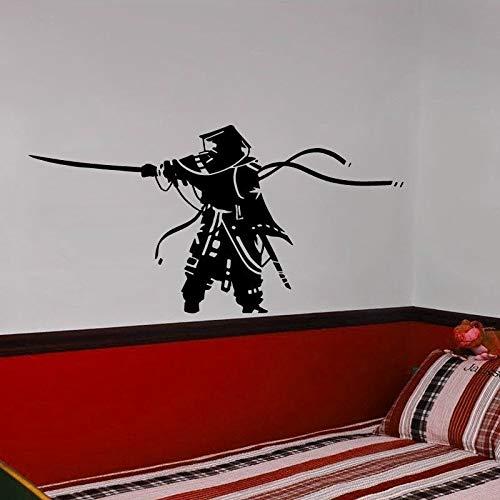 Ninja giapponese Poster da parete in vinile Kendo Sport Simbolo Adesivo da parete Design per la casa Decorazione Samurai Parete in vinile Art Deco Decal A9 84x42cm