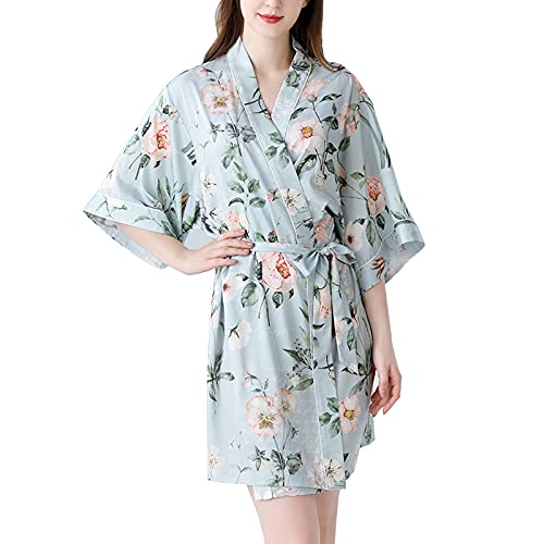 TBATM Kimono con Estampado De Peonía para Mujer Bata Larga Bata Corta Seda Dama De Honor Despedida De Soltera Pijama De Boda Camisón,Azul,L