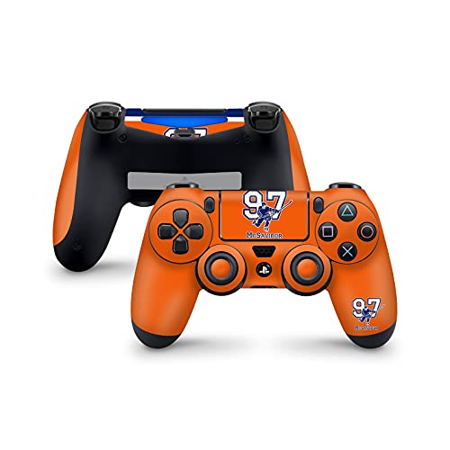 PS4 Controller Skins von 46 North Design, 3M Vinyl Technology, Orange Canadian Ice Hockey Sports Skate Man Players Team Blue Skate, Fit PS4 Regular, Pro, Slim Controller, Hergestellt in Kanada