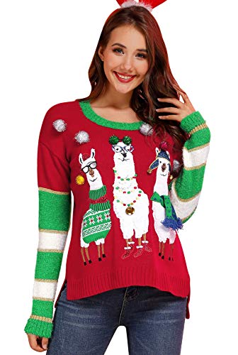 Alpaca Christmas Women's Cable Knit Crewneck Sweater Loose Fit Long Sleeve Cute Pullover Red