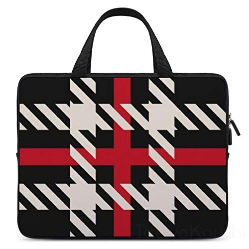 13 Inch Laptop Sleeve Red Black Buffalo Square Plaid Pattern Case/Water-Resistant Notebook Computer Pocket Tablet Briefcase Carrying Bag/Pouch Skin Cover For Acer/Asus/Dell/Lenovo