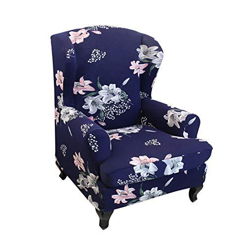 Nati Sesselhusse, Stretchhusse für Ohrensessel, Blumen Muster, Elastisch Sesselbezug für Fernsehsessel Relaxsessel, Dekorative Sesselschoner Sofabezug Sofaüberwurf #1