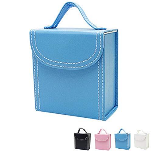 Joyería, Almacenamiento De Joyas, Caja De Joyería De Cuero De 12 * 11 * 6 Cm, Se Utiliza para Pulseras, Collares, Anillos, Horquillas,Azul