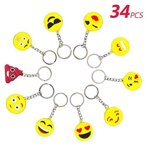 Funmo 34 Pcs Mini Emoji Llavero,Llavero Juguete de Encantadora Emoticon,Niños y Adulto Regalo Fiesta de cumpleaños Navidad Decoraciones,Colgante de para Mochilas Coche (1,4 Pulgadas)