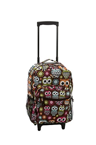 Rockland Luggage 17 Inch Rolling Backpack, MULTI OWL