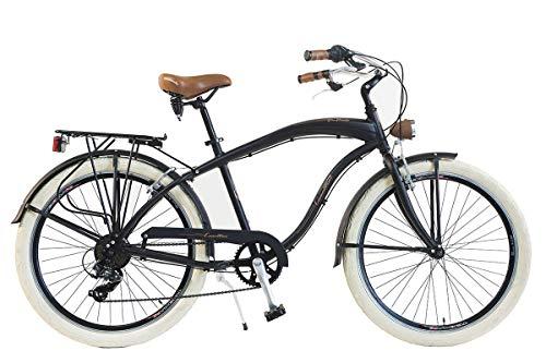Via Veneto by Canellini Fahrrad Rad Citybike CTB Herren Man Vintage Retro American Cruiser Alluminium (Schwarz)
