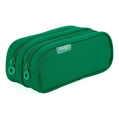Colorline 59811 - Portatodo Doble, Estuche Multiuso para Viaje, Material Escolar, Neceser y Accesorios. Color Verde, Medidas 21 x 9 x 5.5 cm