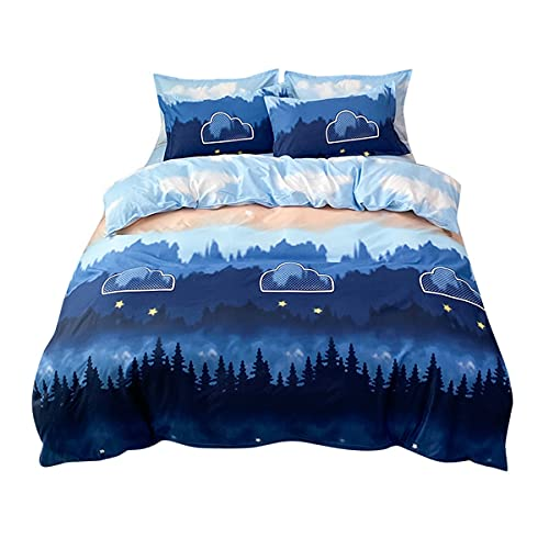 Juego de ropa de cama Smoky Mountain, juego de funda de edredón individual, doble transpirable, para niños, adolescentes, adultos, mujeres, paisajes naturales con 1 funda de almohada