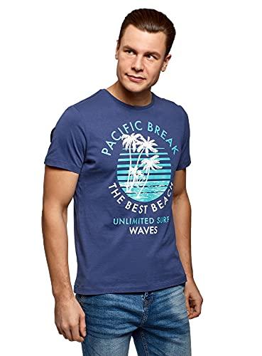 oodji Ultra Hombre Camiseta de Algodón con Estampado, Azul, XL