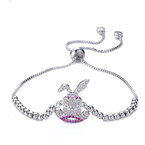 GutView Pulsera de cristal de conejo, pulsera de tamaño ajustable, regalo de fiesta, regalo perfecto para cumpleaños de niñas, días festivos y aniversarios