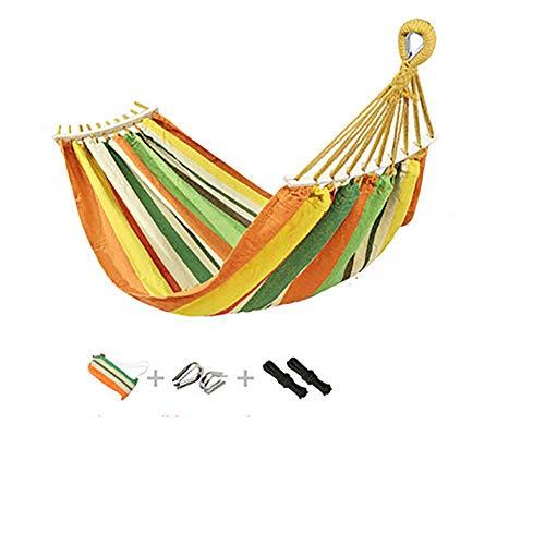 SHARESUN Outdoor gestreepte camping hangmat, met houten stok canvas draagbare opknoping platen, dragende 180kg, aansluitende gesp touw opbergtas, voor reizen strand tuin