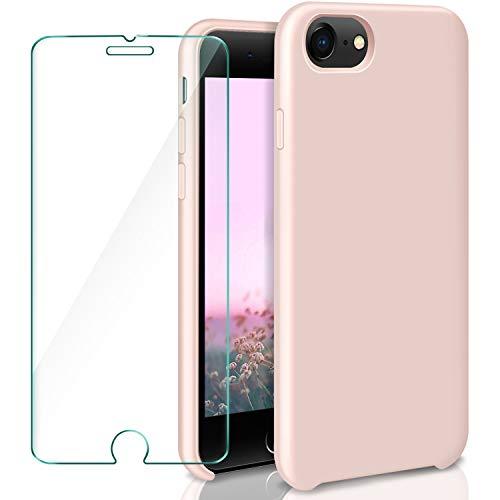 AROYI Cover iPhone 7 Silicone custodia+ Pellicola Protettiva in Vetro Temperato , Antiurto Case Cover con Morbida Microfibra Fodera per iPhone 7 / iPhone 8 4.7 pollici Rosa