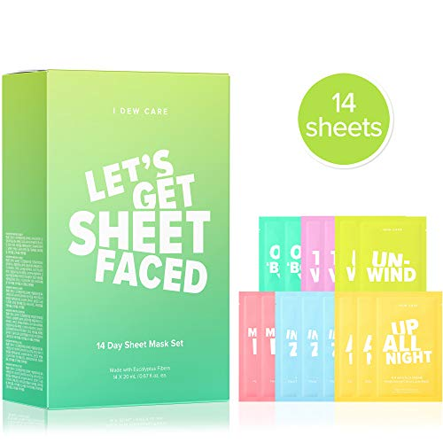 I DEW CARE Let's Get Sheet Faced Face Sheet Mask Pack | Set of 14 Sheet Masks Self Care Gifts for Women | Collagen, Acai Berry, Tea Tree Oil, Eucalyptus| Korean Skincare, Cruelty-Free, Paraben-Free