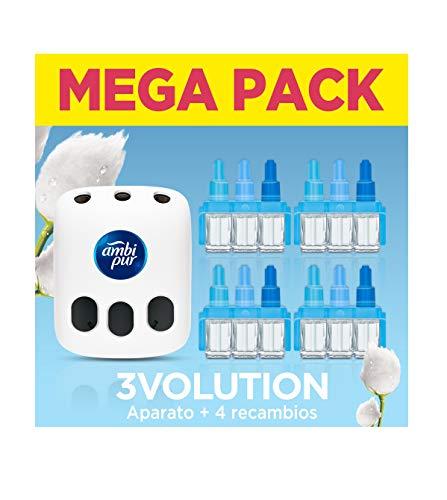 AmbiPur 3Volution Ambientador Casa, Aparato Eléctrico con 4 Recambios (4 x 90 Días), Nubes de Algodón, Mega Pack