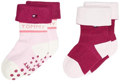 Tommy Hilfiger Unisex-Baby TH 2P FOLD Over Socks, pink Combo, 19-22 (2er Pack)