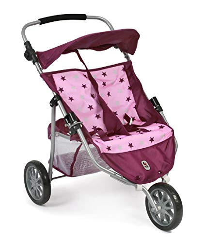 Bayer Chic 2000 697 78 Jogger, Zwillings-Puppenwagen, Stars Brombeere