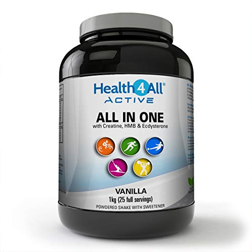 Active All in One Shake with Creatine, HMB, MCTs, Beta-ecdysterone & Chromium. Made by Health4All, 1kg (25 Servings), Vanilla
