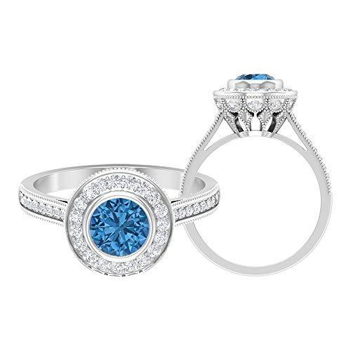 Anillo de zafiro azul ártico de 6 mm creado en laboratorio, D-VSSI Moissanite Halo, anillo grabado en oro, anillo solitario con piedras laterales (calidad AAAA), 14K Oro blanco, Size:EU 52