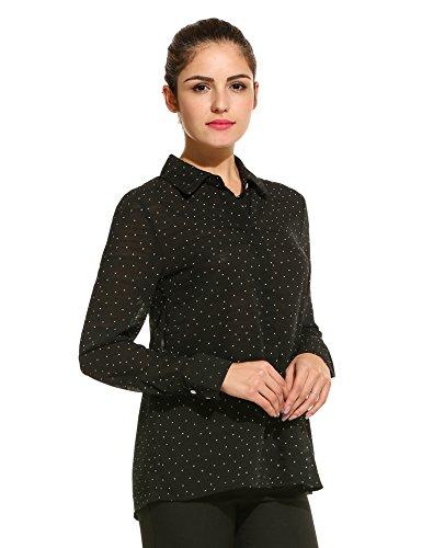 Meaneor Damen Bluse Hemdbluse Chiffon Tupfen Langarm mit Hemddkragen und Knopfleiste Schwarz S