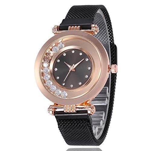 SANDA Relojes Mujer,Reloj de Mujer de Moda Reloj de Pulsera de Bola de Superficie Multicolor con Carcasa de aleación Ultrafina Reloj de Cuarzo Simple y versátil-Negro